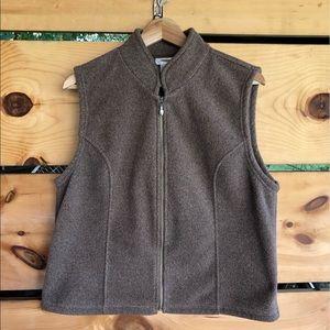 Talbots Tan Fleece Vest Full ZIP